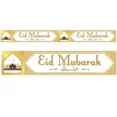 Designer Double Banners - Eid Mubarak - White & Gold